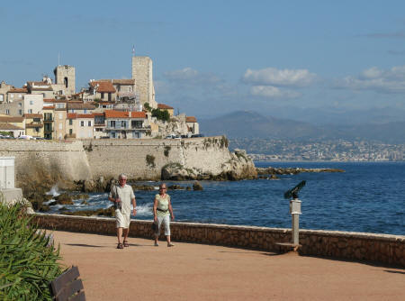 Town of Antibes across the bay from Nice France